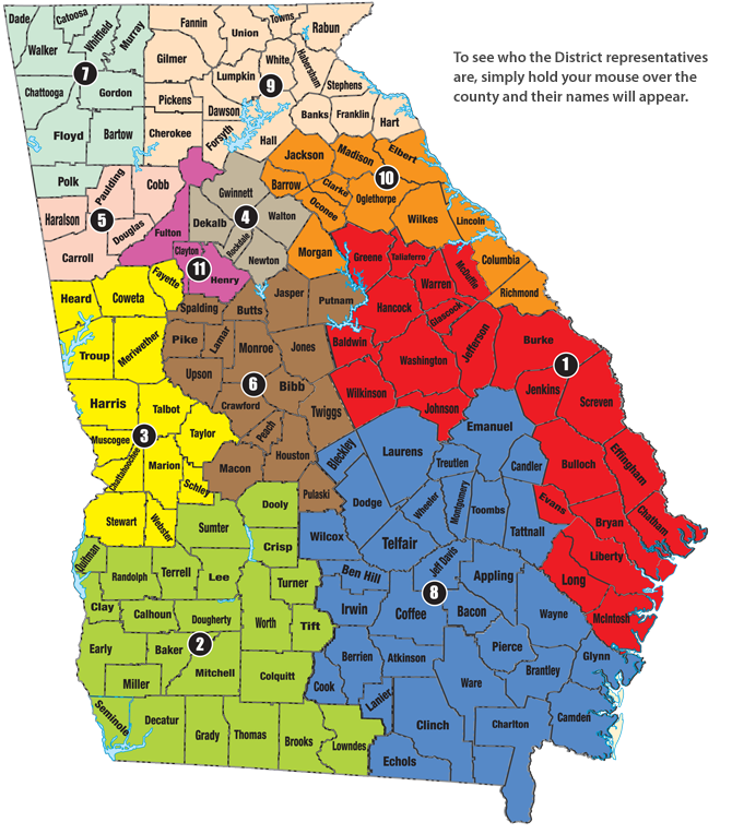 Leadership At The Georgia Academy Of Family Physicians - Georgia map 2015